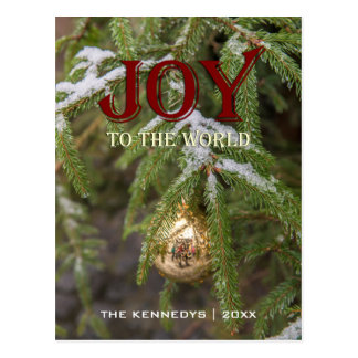 Joy - Gold glass Christmas ornament Evergreen Tree Postcard