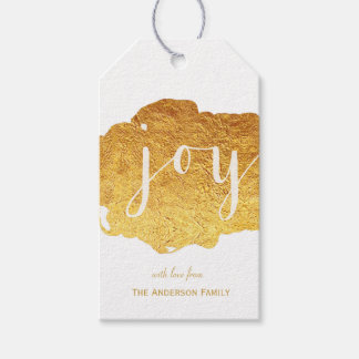 Joy gold paint gift tags