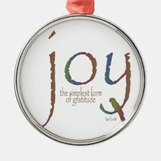 Joy - Gratitude Silver-Colored Round Decoration