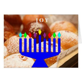 """Joy"" Hanukkah donuts and menorah holiday card"