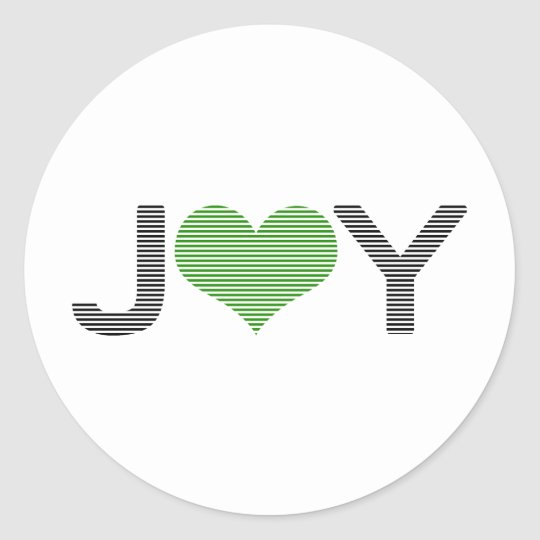 Joy - heart - black and green. classic round sticker