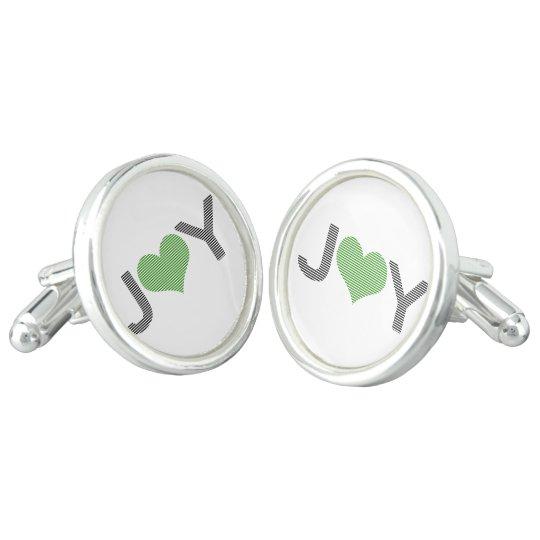 Joy - heart - black and green. cuff links