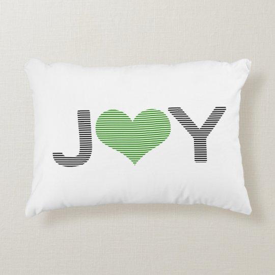 Joy - heart - black and green. decorative cushion