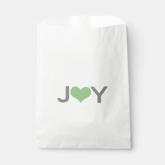 Joy - heart - black and green. favour bag