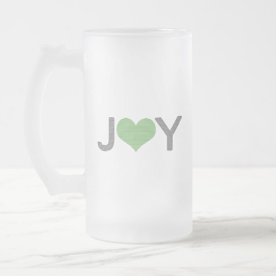 Joy - heart - black and green. frosted glass beer mug