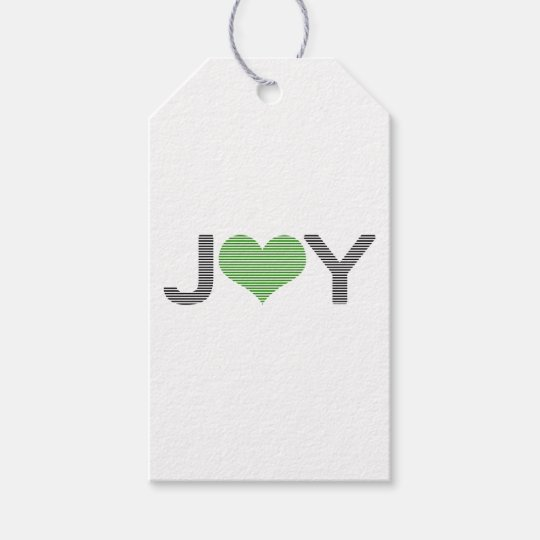 Joy - heart - black and green. gift tags