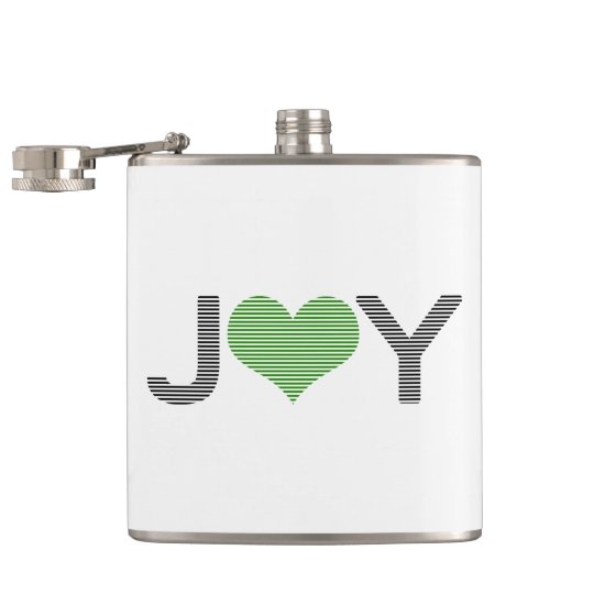 Joy - heart - black and green. hip flask