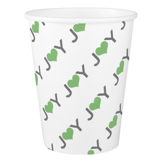 Joy - heart - black and green. paper cup