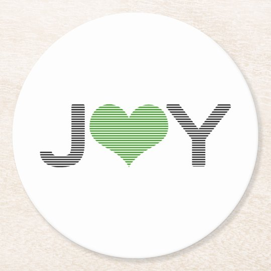 Joy - heart - black and green. round paper coaster