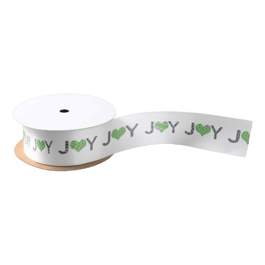 Joy - heart - black and green. satin ribbon