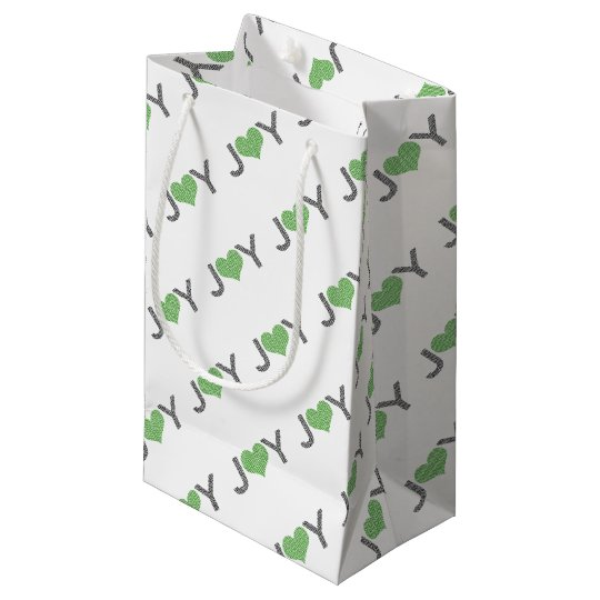 Joy - heart - black and green. small gift bag