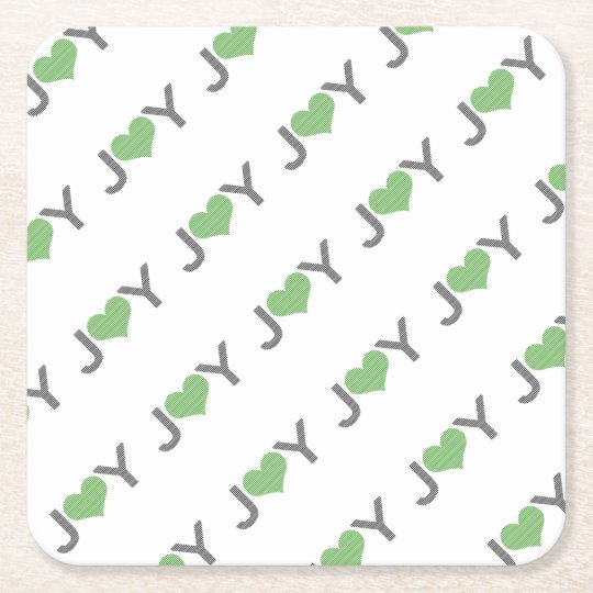 Joy - heart - black and green. square paper coaster
