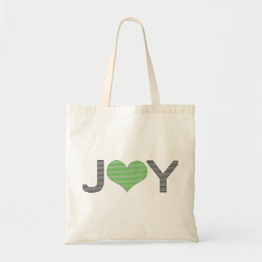Joy - heart - black and green. tote bag