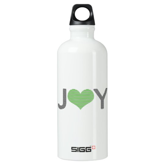 Joy - heart - black and green. water bottle