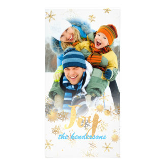 Joy Holiday Greetings+Snowflakes+Faux Foil Photo Greeting Card