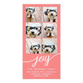 Joy Holiday Photo Collage Elegant Coral Peach Customised Photo Card