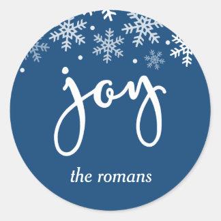 Joy Holiday Snowflake Navy Blue Personalized Classic Round Sticker