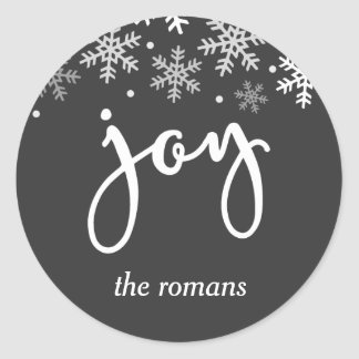 Joy Holiday Snowflake Personalized Classic Round Sticker