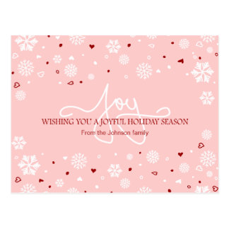 Joy Holiday Snowflakes Hearts Greeting V2 Postcard