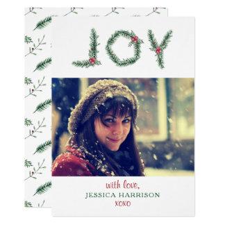 """Joy"" Holly Branches Photo Christmas Card"