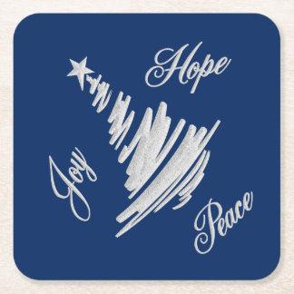 Joy Hope Peace Christmas Tree Square Paper Coaster