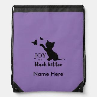 Joy is a Black Kitten Drawstring Bag