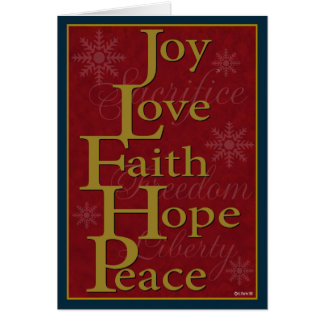 Joy Love Faith Hope Peace Christmas Card