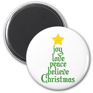 Joy, Love, Peace, Believe, Christmas 6 Cm Round Magnet
