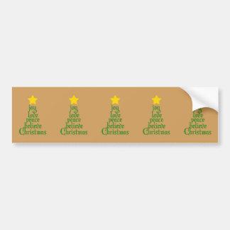 Joy, Love, Peace, Believe, Christmas Bumper Sticker