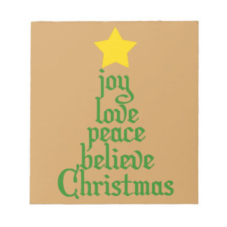 Joy, Love, Peace, Believe, Christmas Notepad