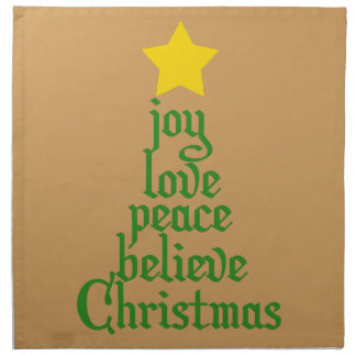 Joy, Love, Peace, Believe, Christmas Printed Napkin
