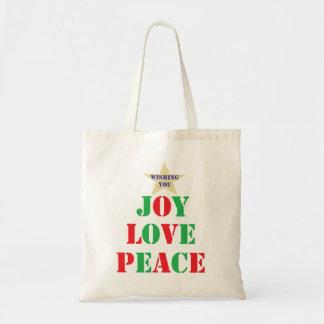 Joy Love Peace Tote Bags