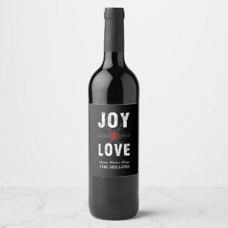 Joy & Love Script Christmas | Holiday Wine Label