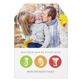 Joy Merry Christmas Photo Card Red Green