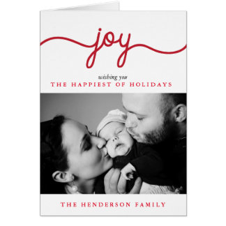 Joy Modern Script Christmas Photo Greeting Card