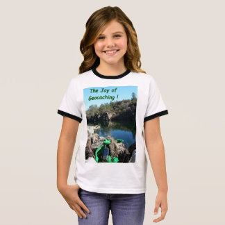 Joy of Geocaching T-shirt. Rocky river scene Ringer T-Shirt