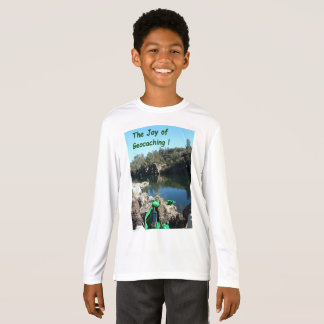 Joy of Geocaching T-shirt. Rocky river scene T-Shirt