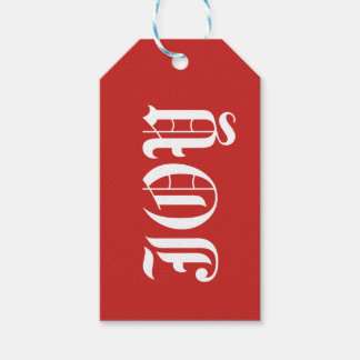 Joy on Red Background Gift Tag