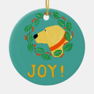 Joy Ornament With Yellow Lab-Stephen Huneck