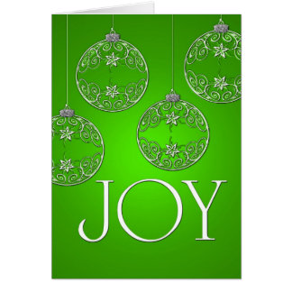 Joy Ornaments on emerald green elegant Greeting Card