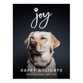 Joy Paw Print Brush Dog Lover Holiday Postcard