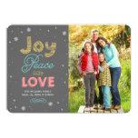 Joy Peace and Love | Holiday Photo Card Personalized Invitation