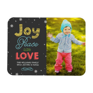 Joy Peace and Love | Holiday Photo Greeting Vinyl Magnets