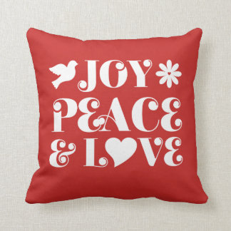 Joy Peace and Love Red Holidays Cushion