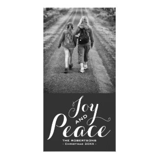 Joy & Peace - Christmas Wishes Photo - Gray White Card