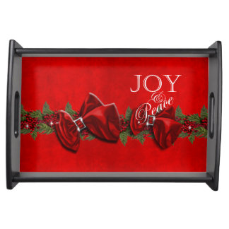 Joy peace Christmas wreath decorations Serving Trays