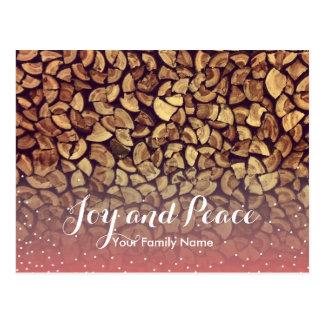 Joy & Peace Firewood Holiday Greeting Postcard