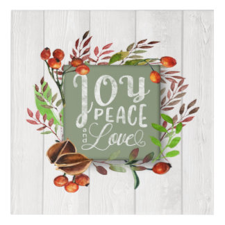 Joy, Peace, Love Chalkboard Wreath ID437 Acrylic Wall Art