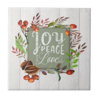 Joy, Peace, Love Chalkboard Wreath ID437 Ceramic Tile