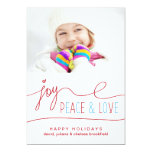 Joy Peace & Love Christmas Letter Photo Flat Card 13 Cm X 18 Cm Invitation Card